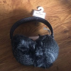Juicy Couture Black & Silver Fuzzy Furry Ear Muffs